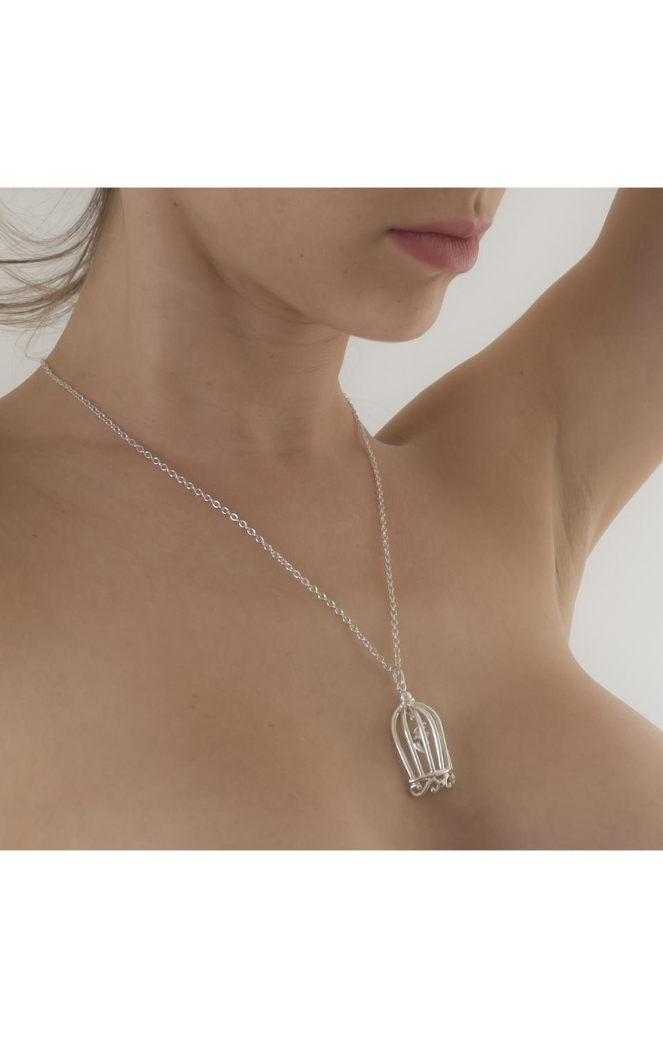 silver plated smooth hand cage pendant