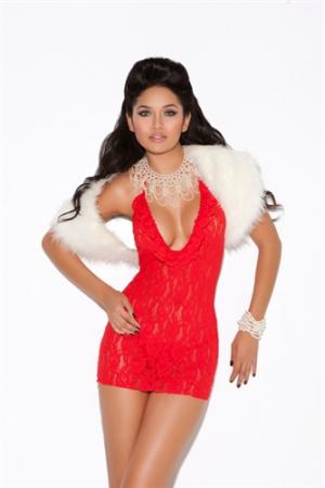 Deep v Lace Halter Dress - One Size - Red