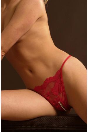 Love in Hiding - Crotchless G String Panty with Pearls