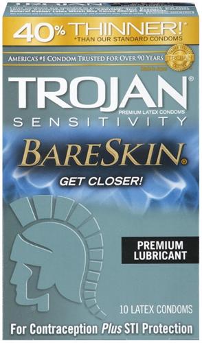Image of Trojan Sensitivity Bareskin Lubricated Condoms - 10 Pack