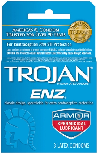 Image of Trojan Enz Armor Spermicidal Lubricated Condoms - 3 Pack