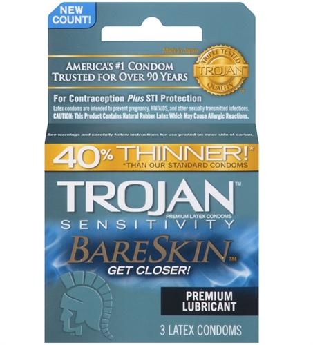 Image of Trojan Sensitivity Bareskin Lubricated Condoms - 3 Pack