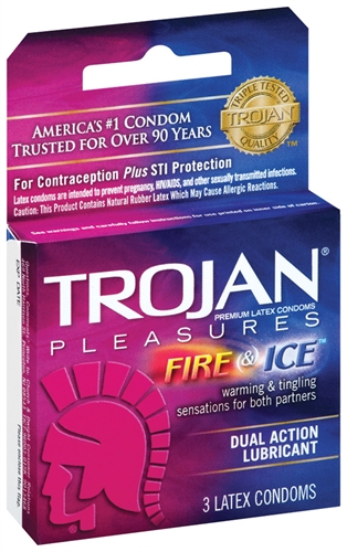 Image of Trojan Fire and Ice Dual Action Lubricated Condoms - 3 Pack